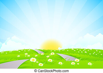 Green landscape with road, sun and clouds