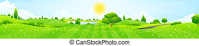 Green Landscape with Flowers, Trees, Clouds and Lake