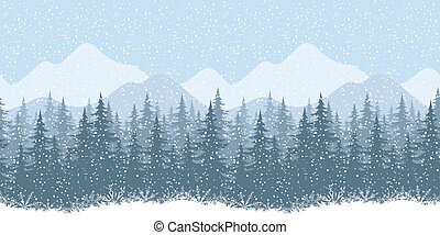 Seamless winter landscape with fir trees - Seamless...