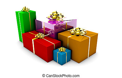 Wrapped Gift Boxes in Different Colors Box