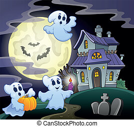 Haunted house theme image 3 - eps10 vector illustration