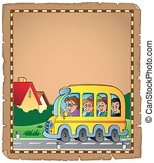 Parchment with school bus 1