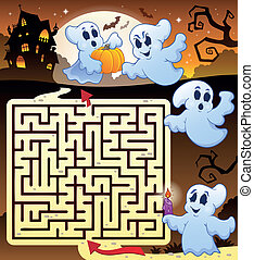 Maze 3 with Halloween thematics - eps10 vector illustration
