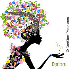 Zodiac sign capricorn. fashion girl