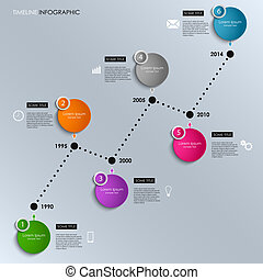 Time line info graphic colored round template vector eps 10