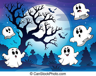 Spooky tree theme image 9 - eps10 vector illustration.