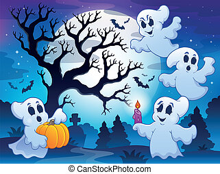 Spooky tree theme image 4 - eps10 vector illustration