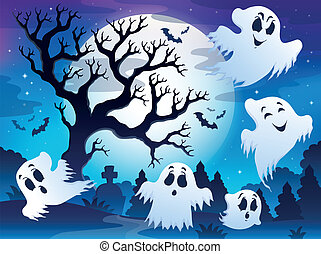 Spooky tree theme image 5 - eps10 vector illustration