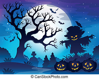 Spooky tree theme image 6 - eps10 vector illustration.