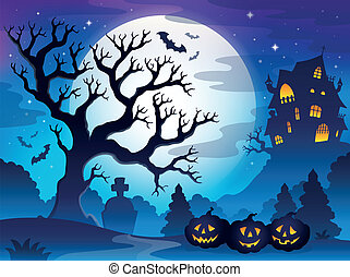 Spooky tree theme image 3 - eps10 vector illustration