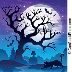 Spooky tree theme image 2 - eps10 vector illustration