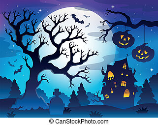 Spooky tree theme image 8 - eps10 vector illustration