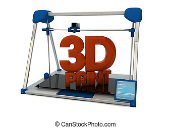 3d print - render of a 3d printer with the text 3d print