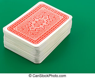 playing cards on green background