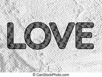 LOVE  Font Type for Valentines day card on Cement wall Backgroun