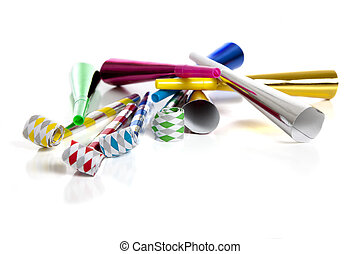 Party Noise Makers on white - A group of colorful party...
