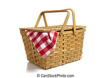 Picnic Basket with Gingham - A wicker picnic basket with a...