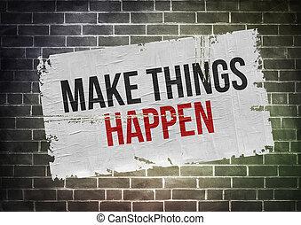 Fazer, coisas, happen, -, cartaz, conceito