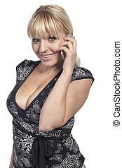 Woman is phoning with mobile phone - Cut out image of a...