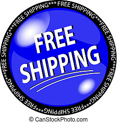 blue free shipping button - illustration of a blue free...