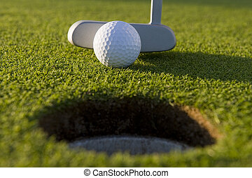 Short Golf Putt - A very short putt in the game of golf on a...