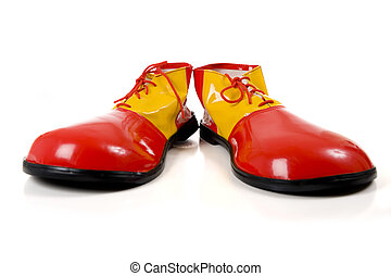 Clown Shoes on White - A pair of huge colorful clown shoes...