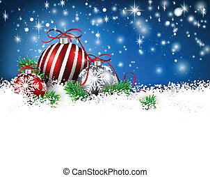 Blue winter background with christmas balls. - Blue...
