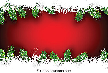 Fir and snow christmas frame - Detailed frame with fir Red...