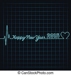 Illustration of heartbeat make 2015 happy new year 2014 text...