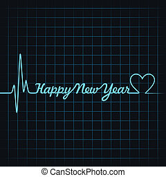 heartbeat make happy new year text - Illustration of...
