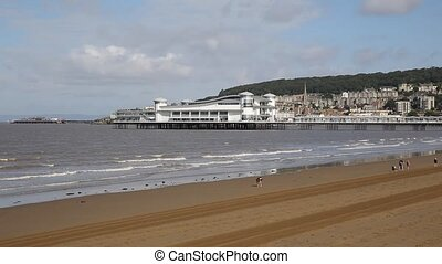 Weston-super-Mare beach Somerset on  blue sky summer day