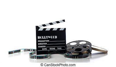 Hollywood Movie Items - Hollywood movie items on a white...