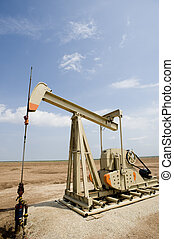 Oil Well or Pumpjack - A new oil well or pumpjack with copy...