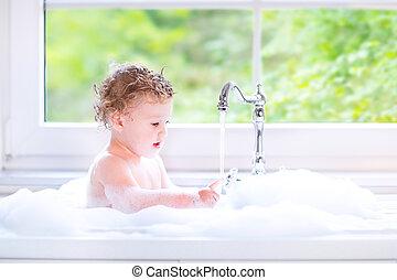 divertido, grande, espuma, juego, agua, bebé, niña, pecado,...