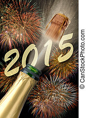 new year 2015 - popping champagne with firework for new year...