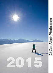 new year 2015 - the way to new year 2015 in snow