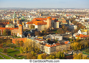 The historic center of Krakow with a birds-eye view