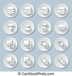 Functions - Set of flat round icons with functions for...