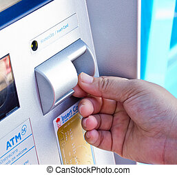 Close up ATM for withdraw your money in the outside