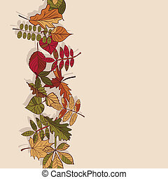Autumn pattern. Pattern of autumn leaves. Red, yellow and...