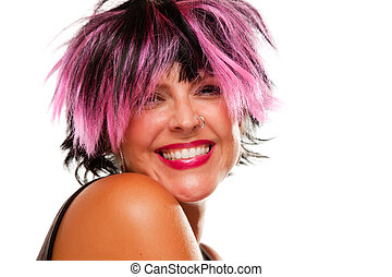 Pink And Black Haired Girl Smiling - Pink And Black Haired...