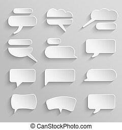 Vector set 4 of paper speech bubbles with shadows