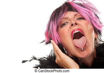 Pink And Black Haired Girl with Pierced Tongue Out - Pink...