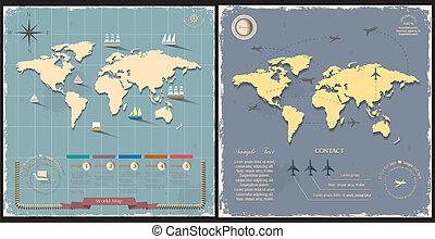 World maps in retro style design