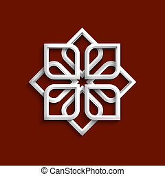 White 3d ornament in arabic style