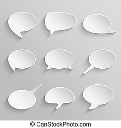 Vector set 3 of paper speech bubbles with shadows