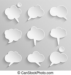Vector set 2 of paper speech bubbles with shadows