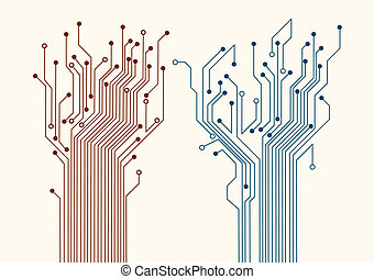 Two abstract circuit trees. Vector background
