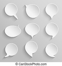 Vector set 5 of paper speech bubbles with shadows