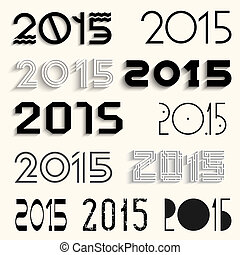 Vector set of various lettering 2015 for design